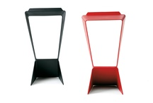 ICON, stackable, minimalist stool / A minimalist stook with an origami design.. stackable, entirely in aluminium with a painted, scrachproof finish. A design of Matthias Demacker, 2006.