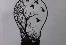 Pen drawings simple