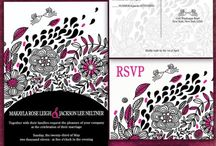 Pink and black whimsical wedding / Hot pink and black whimsical love bird wedding invitation theme