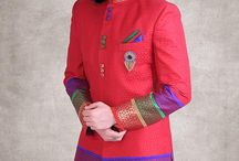Indo-Western Mens Sherwanis / Attractive ethnic attire for men with a contemporary twist and fabulous colors. Indo-Western Mens Sherwanis can be shopped at www.cbazaar.com