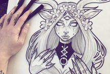 Female blank eye drawing