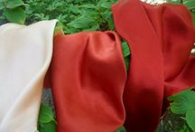 Plant dyes / Examples of plant dyed fabrics.