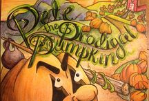 Pete the Prodigal Pumpkin! / These are some of the illustrations from my upcoming children's book (release date 8/20/15). This fun and illustrated kids' book will introduce children to a grumpy pumpkin named Pete. Pete leaves his home, ends up in a dark and scary place, but then he is found by kind Farmer Dale. It's a story of restoration and forgiveness.