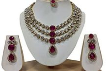 Dazzling Kundan Wedding Party Indian Bollywood Kundan Necklace Set