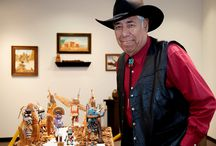 Exhibit: Kachinas carved by Mike Aguirre / Jan. 7 to March 13, 2015.  Mike Aguirre, 72, of Wichita, Kansas, has been carving Kachina dolls since the mid-1980s. This exhibit is the second one he's had in the 30 year span since he began carving. His first show, when he was 50 years old, was at the Carnegie Center for the Arts in Dodge City, Kan. He lived north of Marlow, Oklahoma, for many years, & in late 2014, returned to Kansas. Exhibit also has other pieces of Aguirre's work.