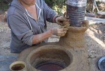Adobe/mud cook stoves