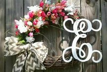 Chic Wreaths and Designs Spring/Summer Wreaths / Beautiful 20' Grapevine Wreath with Hydrangeas, monogram and a Chevron bow.  This wreath can be made in a variety of colors.  1) Pick your wreath color. 2) Pick your flowers. (Hydrangeas, Roses,      Sunflowers Cala Lillys etc. 3) Choose your monogram 4) Free Shipping   Custom designed by you and created by Chic Wreaths and Designs!  https://m.facebook.com/chicwreathsdesigns/