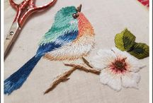 my embroidery work / trish burr bird
