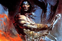 "Le Conan / ""Hither came Conan, the Cimmerian, black-haired, sullen-eyed, sword in hand, a thief, a reaver, a slayer, with gigantic melancholies and gigantic mirth, to tread the jeweled thrones of the Earth under his sandalled feet.""