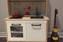 Kids Kitchen / Kids toy kitchen from  Ikea with mini toy Creuset accessories and toy dyson vacuum.