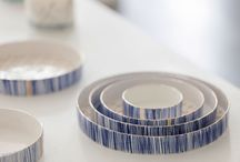 C O B A L T  D I S H E S / Rebecca Killen Ceramics - Handmade bone china dishes decorated with handpainted cobalt, ceramic transfers and hints of gold lustre