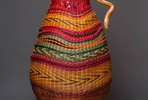 colored wicker baskets