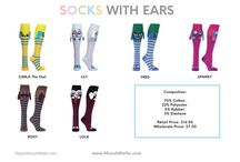 MooshWalks Socks / Wear these vibrant animal socks with ears and wings—and you'll be noticed. The colorful characters have movement, too, with the ears or wings flapping as you walk. Designed by YouTube star Olga Kay, each pair ensures you'll stand out. Their soft, stretchy material reaches knee high and has a non-skid bottom to add even more conviction and personality to your stride.Give your feet personality with these awesome socks. MooshWalks.com  #MooshWalks @MooshWalks #Fashion #Socks