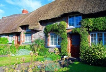 """Cottage Architecture  / Though traditionally defined as """"small"""" or having only one room, the English Cottage has inspired larger and more elaborate homes, yet maintains the cozy comfort that we identify with the """"cottage"""" style.  On the exterior, the English Cottage commonly features half-hip roofs, reminiscent of thatched roofs of Shakespeare's time. While the Dutch Cottage is an octagonal-shaped cottage. For the superstitious, the lack of right angles prevented evil spirits from lurking in wait around a corner.  / by Yvette Palmer 
