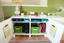 School storage / Help with organizing kids book bags, shoes and paperwork. / by Angela Barton