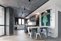 Styl industrialny / Industrial style / Styl industrialny, który często gości w projektach aranżacji loftów powstał z potrzeby przekształcenia poprzemysłowych fabryk na budynki mieszkalne. Jest to styl proponowany w przestrzeniach o dużych powierzchniach. Charakterystyczne dla tego stylu jest połączenie betonu, cegły, ciężkich lamp oraz mebli wykonanych ze stali lub starego drewna.  Industrial lubi przedmioty z historią i duszą.