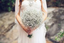 Wedding flowers (white, gyp and a hint of green) / Bridal flower arrangements