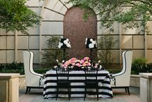 Parisian Love Fete / Valentine's Day Tablescape  Black and White Linens   Pink and Peach Florals   French Macarons   Cotton Candy   Posh Floral Designs   Jillian Zamora Photography