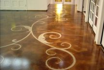 Gorgeous Stenciled and Stained Concrete Floors / Stenciled and Stained Concrete Floors