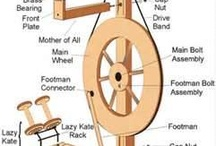 Spinning wheels, yarn, fiber