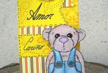 Bolsita de papel decorada en tonos amarillos Paper Scrapbook