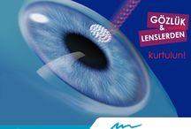 Göz Hastalıkları ve Cerrahisi / Excimer Lazer Tedavileri (halk arasında göz çizdirme olarak bilinmektedir.) Göz Tansiyonu Glokom Tedavisi (halk arasında karasu diye bilinmektedir.) Katarakt Tedavisi ( halk arasında göze perde inmesi olarak bilinmektedir.) Keratokonus Tedavisi (halk arasında kornea sivriliği olarak bilinmektedir.) Retinitis Pigmentoza Tedavisi (halk arasında tavuk karası olarak bilinmektedir.) Arpacık Tedavisi (halk arasında it dirseği olarak bilinmektedir. Kornea Nakli Göz Nakli