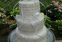 White wedding cake with puple inside