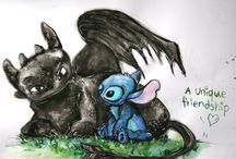 Toothless and stitch and Baymax