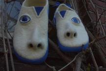 Filzschuhe mitNase und Augen