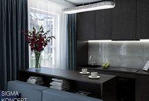 dark chocolate interior / Beautiful dark chocolate interior with blue accents. Living room with open kitchen 24m2. #interior design, #tv unit, #dining room, #mieszkanie, #dom. Piękne wnętrze w kolorach gorzkiej czekolady z niebieskimi akcentami. Salon z kuchnią 24m2. #projektowanie wnętrz, #zabudowa rtv, #jadalnia, #flat, #home