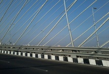 Parallel lines at Bandra Worli sealink / Loved the lines of the cable at the Bandra Worli Sealink. Captured from a speeding car! Pity you can't stop there and click