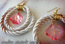 Earrings / fabric,cord,rope,mixed material,earrings