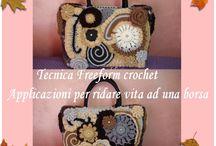 Borse, abiti -  Freeform crochet / tecnica freeform crochet