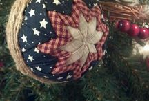 Quilted Ornaments, quilting and yo yo's