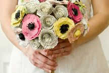 Alternative bouquets / Wedding bouquets made with original, different materials: paper, fabric, brooches, feathers