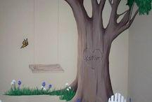Jobb tre malt på vegg