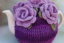 Crochet Tea Cozy Purple Roses