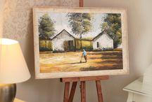 Naše práce - obrazy / Malá ukázka rámování obrazů do dřevěných rámů z naší nabídky.