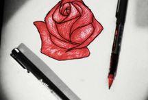 Dibujos / dibujos a lápiz entintados con Rotring