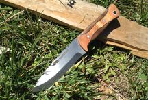 """The """"Trapper"""" Bushcraft knife Quickhatchknives.com / 01 tool steel 4 1/2 blade 5"""" handle  3/16 thick African mahogany / walnut scale."""