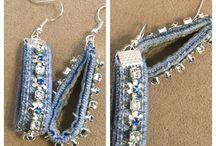 Earrings in denim