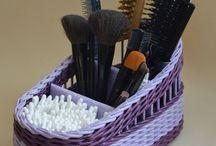 fioletowy koszyczek na kosmetyki