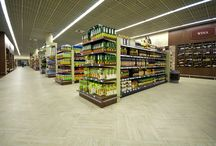 Grocery Market in Gdynia ( Poland) / some interesteing example of using Expona LVT tile and plane in big area. Space of market is separated by 2 colours - Travertine almost everywhere and Classic Oak in more prestige area ( like alkohol's)
