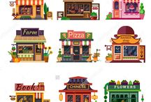 Vector flat buildings and architecture