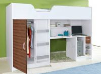 Lifestyle High Sleeper Bed / Lifestyle High Sleeper Bed, With built in Wardrobe, Desk, Drawer and shelving, various colour ways are available at http://www.mrsflatpack.co.uk/ Suitable for 6 -12 years of age prices from £199.95