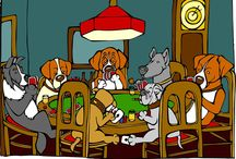 """Dogs Playing Poker Rocks / My newest art project, """"Dogs Playing Poker Rocks,"""" is to recreate all 17 paintings in Cassius Coolidge's famous dogs playing poker series as illustrations."""