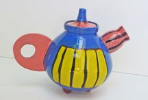 ea ceramic studio / teapots / Wheel throwing,hand built details, angobes hand painted, electric fired, eco-friendly glaze
