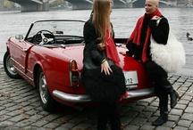 handbags and red convertible