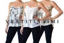 Maglia donna maglietta camicie camicetta canotta chiffon blusa bustier top