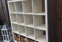 Ikea kast met Steigerhout / Bekende Ikea kast bekleed met steigerhout